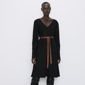 ZARA Black + Brown Belted Dress